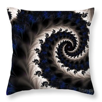 Blue Fractal Path Throw Pillow by Elizabeth McTaggart