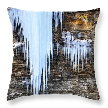 Blue Frozen Icicle Stalactites Throw Pillow by Darleen Stry