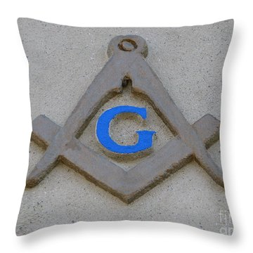 Blue G Throw Pillow by Michael Krek