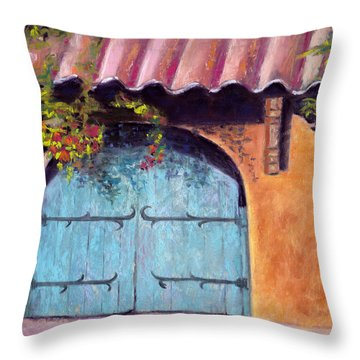 Blue Gate Throw Pillow by Julie Maas