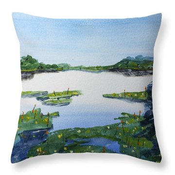 Throw Pillow featuring the painting Blue Gill Spot by Jack G  Brauer