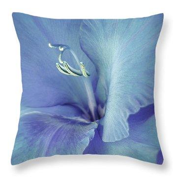 Blue Gladiolus Flower Throw Pillow by Jennie Marie Schell
