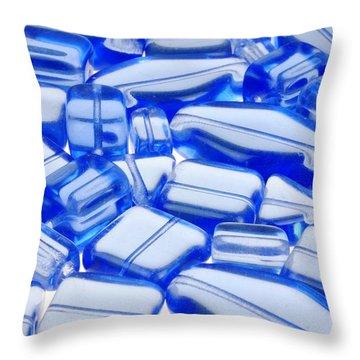 Blue Glass Beads Throw Pillow