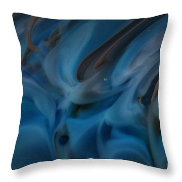 Blue Glass Waves Throw Pillow