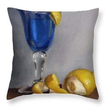 Blue Glass With Lemons Throw Pillow