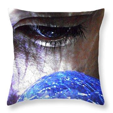 Blue Glass World Throw Pillow