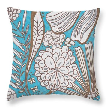 Blue Glitter Throw Pillow
