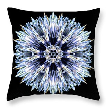 Throw Pillow featuring the photograph Blue Globe Thistle Flower Mandala by David J Bookbinder