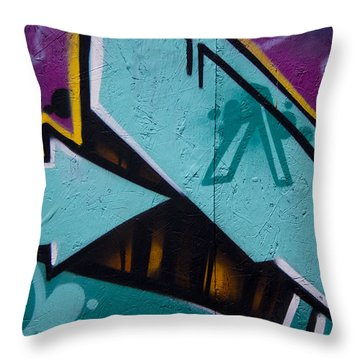 Blue Graffiti Arrow Throw Pillow by Carol Leigh