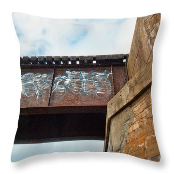 Throw Pillow featuring the photograph Blue Graffiti by Lena Wilhite