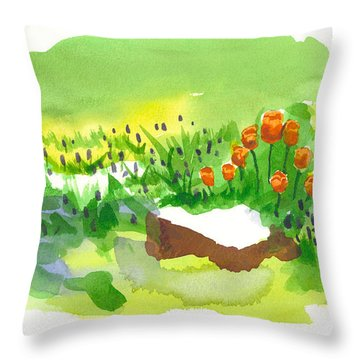 Blue Grape Hyacinths With Red Tulips And Tree Stump Throw Pillow by Kip DeVore
