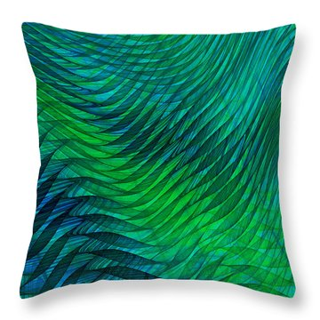 Blue Green Fabric Abstract Throw Pillow