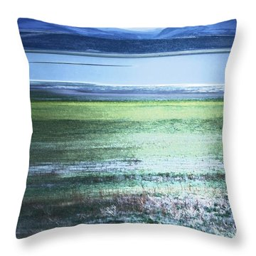 Blue Green Landscape Throw Pillow