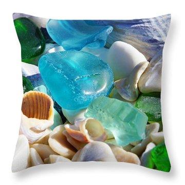 Blue Green Seaglass Shells Coastal Beach Throw Pillow by Baslee Troutman