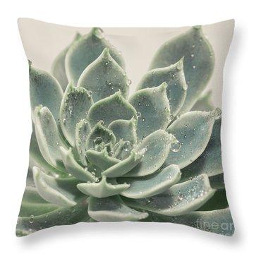 Blue Green Succulent Throw Pillow