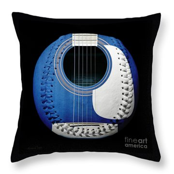 Blue Guitar Baseball White Laces Square Throw Pillow
