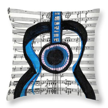 Throw Pillow featuring the drawing Blue Guitar Music by Ecinja Art Works