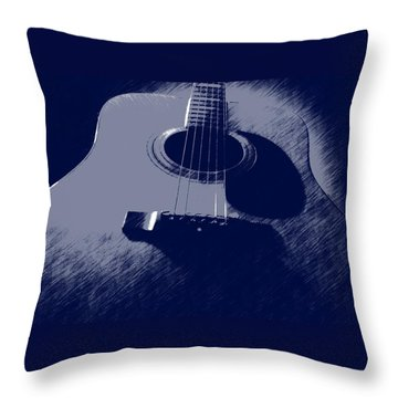 Throw Pillow featuring the photograph Blue Guitar by Photographic Arts And Design Studio