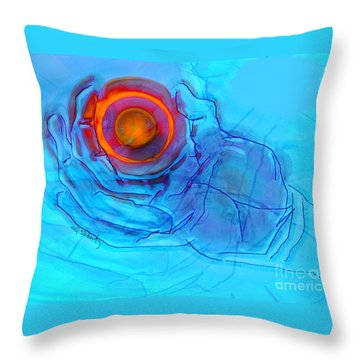 Blue Hand Throw Pillow