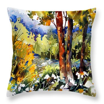 Throw Pillow featuring the painting Blue Haze Over The Hills by Rae Andrews