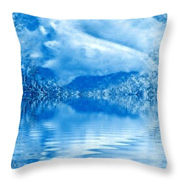 Blue Healing Throw Pillow by Ray Tapajna
