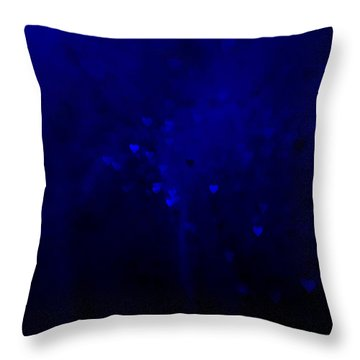 Blue Hearts Throw Pillow by Beverly Stapleton