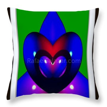 Throw Pillow featuring the painting Blue Hearts by Rafael Salazar