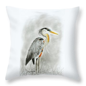 Blue Heron 3 Throw Pillow