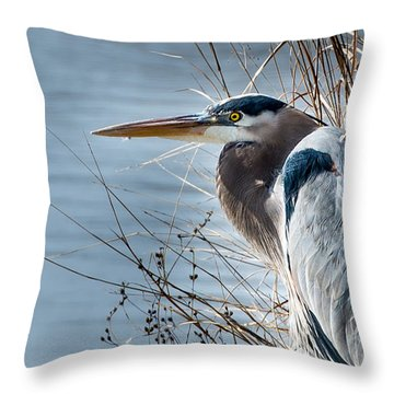 Blue Heron At Pond Throw Pillow