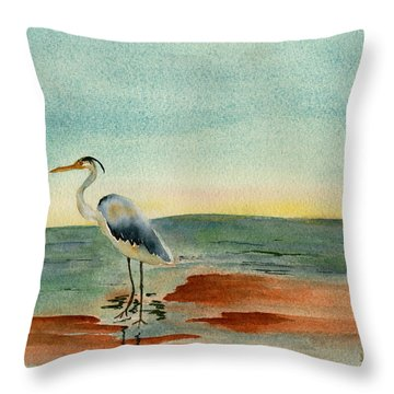 Blue Heron At Sunrise Throw Pillow by Teresa Tilley