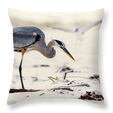 Blue Heron At The Beach Throw Pillow by Joan McCool
