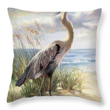 Blue Heron Deux Throw Pillow