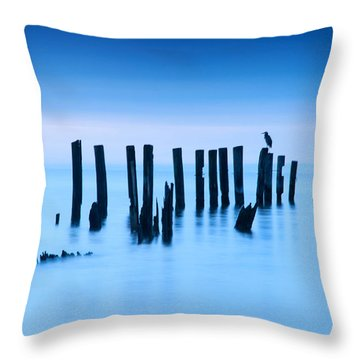 Blue Heron In Blue Throw Pillow by Jennifer Casey