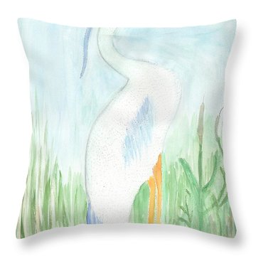 Blue Heron In The Tules Throw Pillow