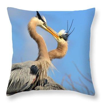 Blue Heron Love Throw Pillow