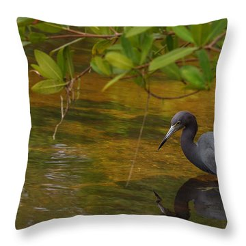 Blue Heron Throw Pillow by Mark Russell