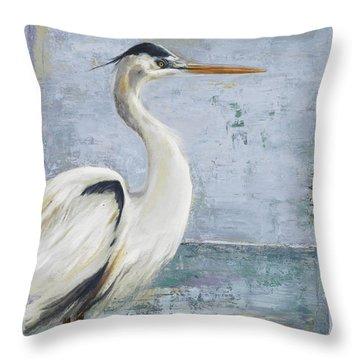 Blue Heron On Blue I Throw Pillow