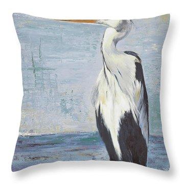 Blue Heron On Blue II Throw Pillow
