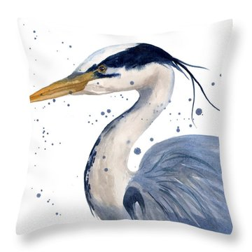 Blue Heron Painting Throw Pillow