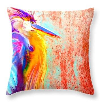 Funky Blue Heron Bird Throw Pillow