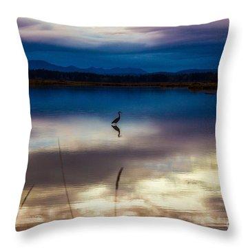 Blue Heron Sun Set Throw Pillow