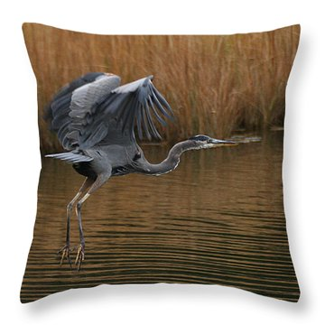 Blue Heron Takes Flight Throw Pillow