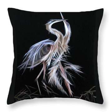 Blue Herons Mating Dance Throw Pillow by LaVonne Hand