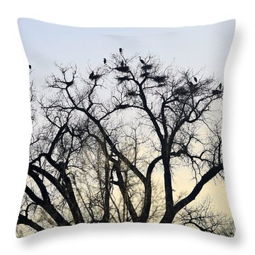 Blue Herons Throw Pillow