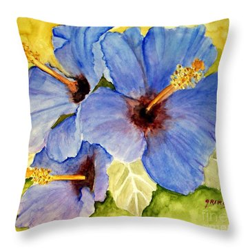 Blue Hibiscus Throw Pillow