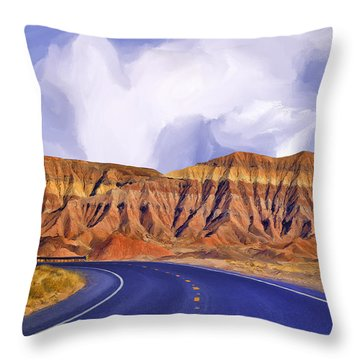 Blue Highway Throw Pillow