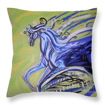 Blue Horse Throw Pillow by Genevieve Esson