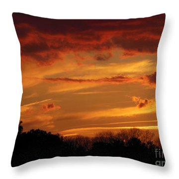 Blue Horse Sunset Throw Pillow by Rabiah Seminole