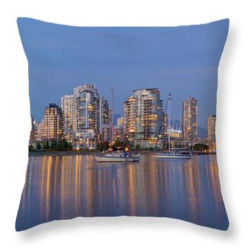 Throw Pillow featuring the photograph Blue Hour At False Creek Vancouver Bc Canada by JPLDesigns