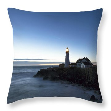 Blue Hour At Portland Head Throw Pillow by Eric Gendron